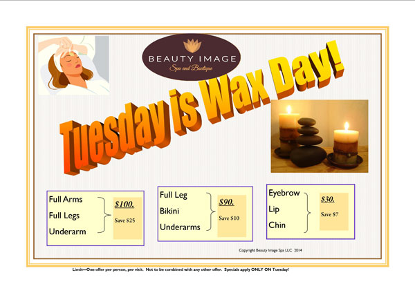 Beauty Image Spa Tuesday Wax Day Specials