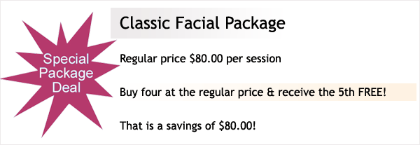 Buy 4 facials at the regular price and receive the 5th FREE